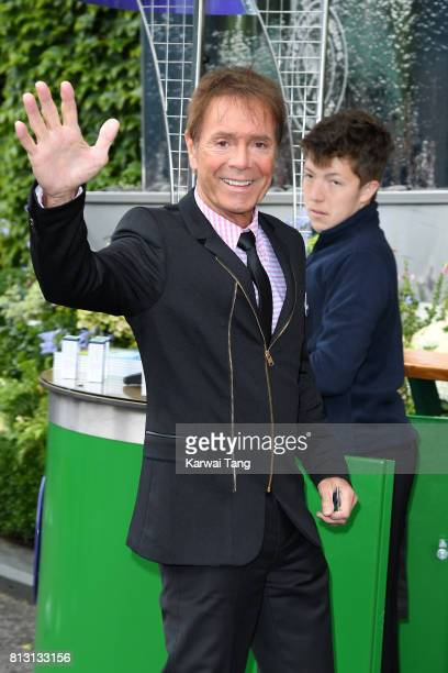Singer Cliff Richard attends day nine of the Wimbledon Tennis Championships at the All England Lawn Tennis and Croquet Club on July 12 2017 in London...
