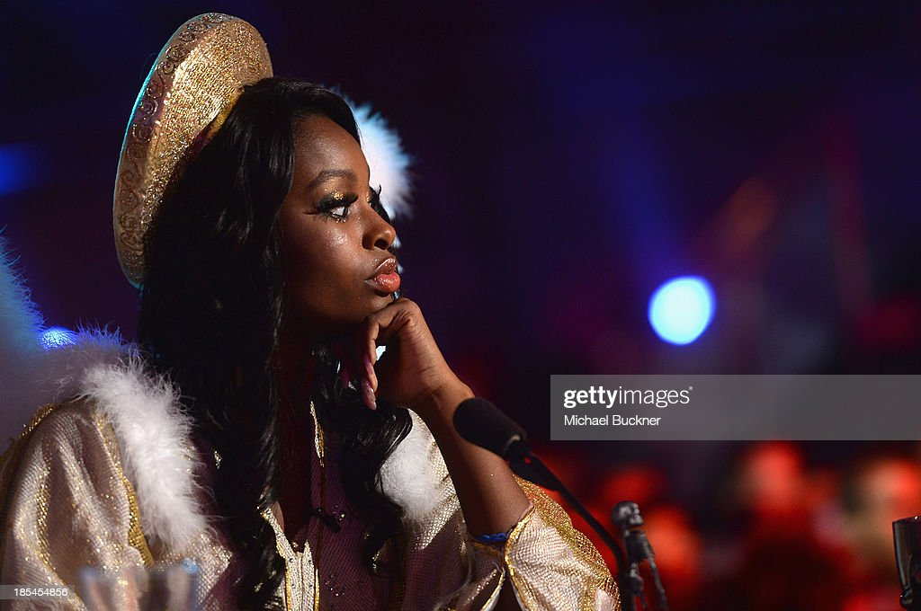 Singer Coco Jones attends Hub Network's First Annual Halloween Bash at Barker Hangar on October 20, 2013 in Santa Monica, California.