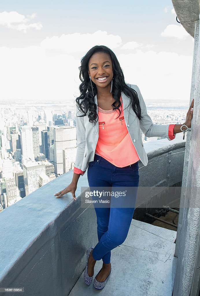 Singer Coco Jones visits the 103rd floor of The Empire State Building on March 13, 2013 in New York City.