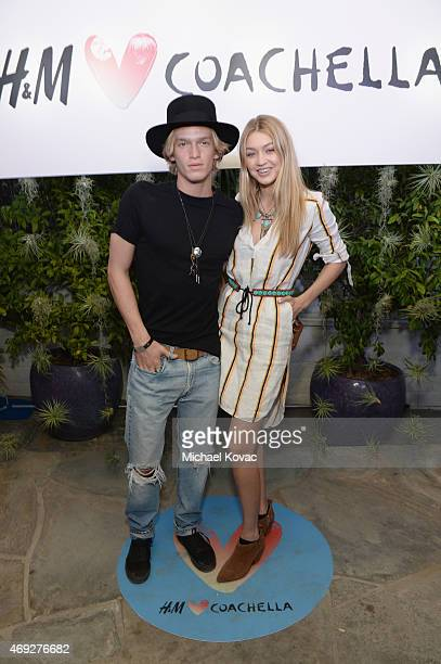 Singer Cody Simpson and model Gigi Hadid attend the Official HM Loves Coachella Party at the Parker Palm Springs on April 10 2015 in Palm Springs...