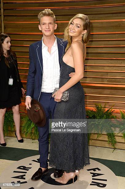 Singer Cody Simpson and Model Gigi Hadid attends the 2014 Vanity Fair Oscar Party hosted by Graydon Carter on March 2 2014 in West Hollywood...