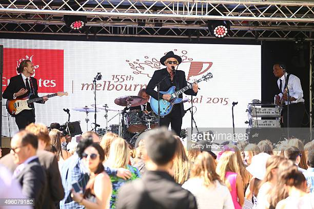 Singer Cody Simpson performs at Hill Square on Emirates Stakes Day at Flemington Racecourse on November 7 2015 in Melbourne Australia