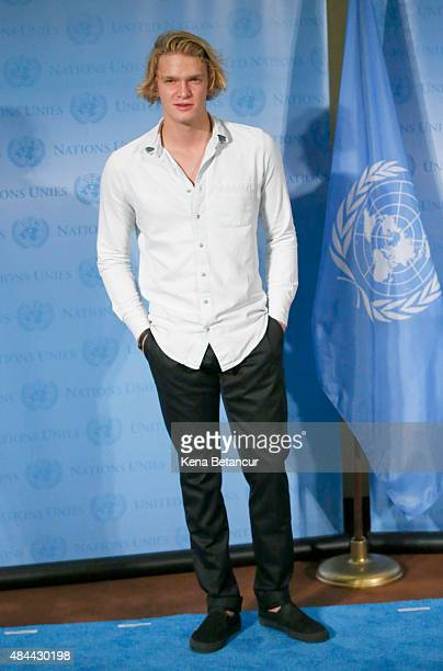 Singer Cody Simpson pose for a picture during the commemoration of 2015 World Humanitarian Day at the UN Headquarters on August 18 2015 in New York...