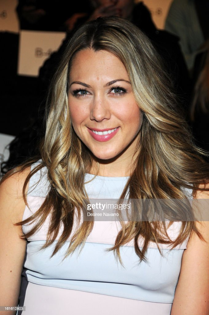 Singer Colbie Caillat poses backstage at Badgley Mischka during Fall 2013 Mercedes-Benz Fashion Week at The Theatre at Lincoln Center on February 12, 2013 in New York City.
