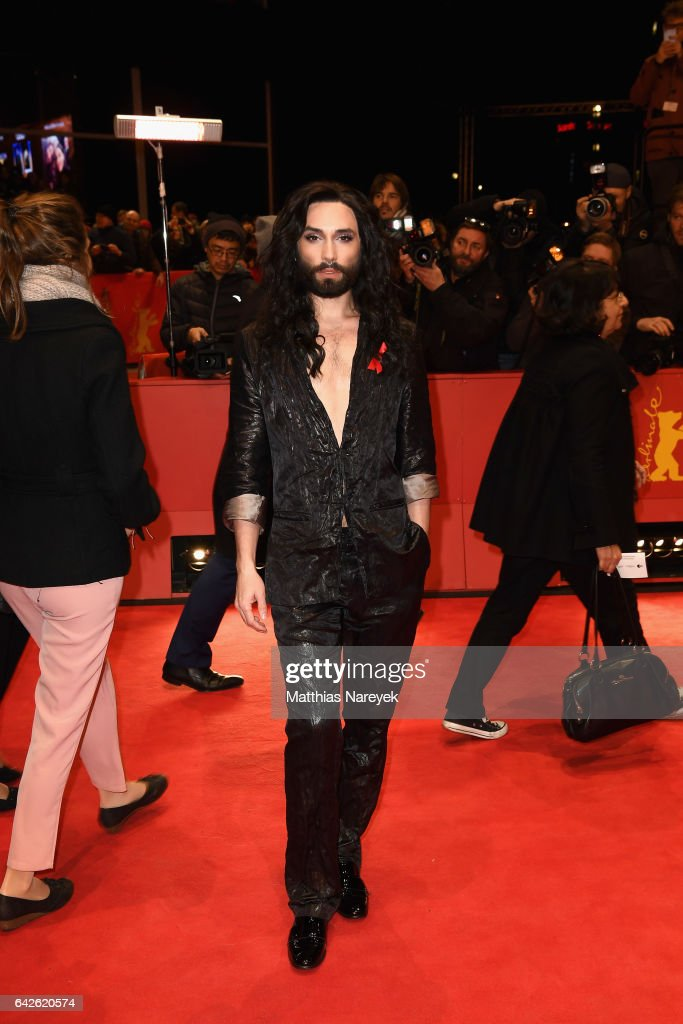 Singer Conchita Wurst arrives for the closing ceremony of the 67th Berlinale International Film Festival Berlin at Berlinale Palace on February 18, 2017 in Berlin, Germany.