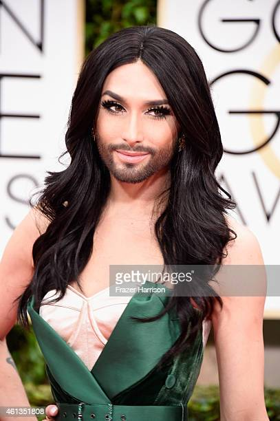 Singer Conchita Wurst attends the 72nd Annual Golden Globe Awards at The Beverly Hilton Hotel on January 11 2015 in Beverly Hills California