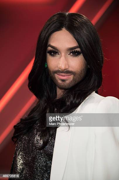 Singer Conchita Wurst attends the 'Menschen bei Maischberger' TV Show at the WDR Studio on April 14 2015 in Cologne Germany