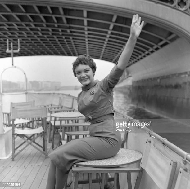 Singer Connie Francis posed on riverboat promotion trip 1958