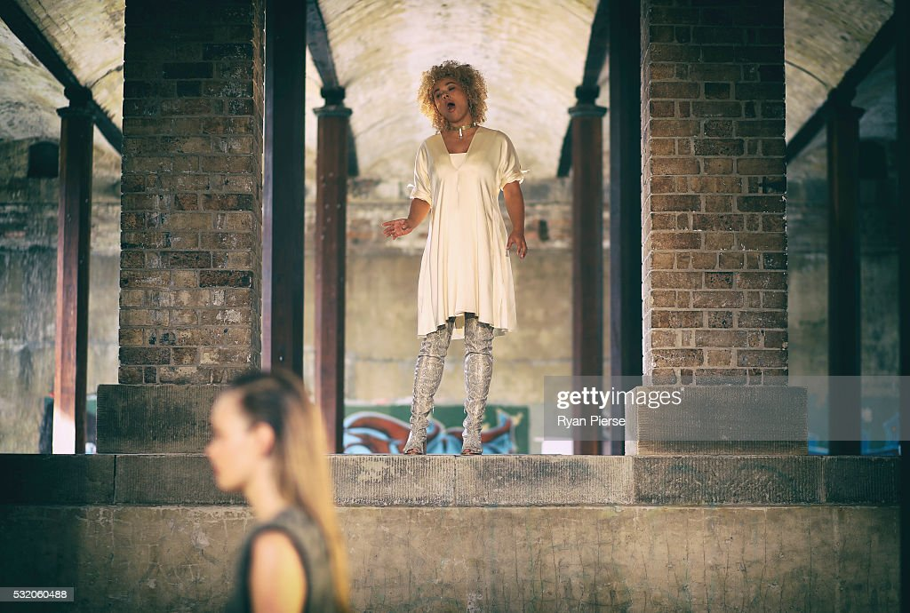 Singer Connie Mitchell of Sneaky Sound System performs during the Kitz show during MercedesBenz Fashion Week Australia at Paddington Reservoir on May...