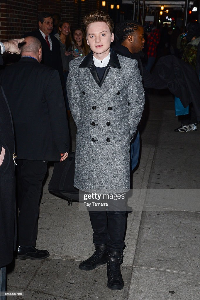 Singer Conor Maynard leaves the 'Late Show With David Letterman' taping at the Ed Sullivan Theater on January 7, 2013 in New York City.