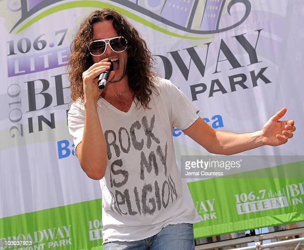 Singer Constantine Maroulis from the Broadway production 'Rock of Ages' performs at Broadway in Bryant Park on July 22 2010 in New York City