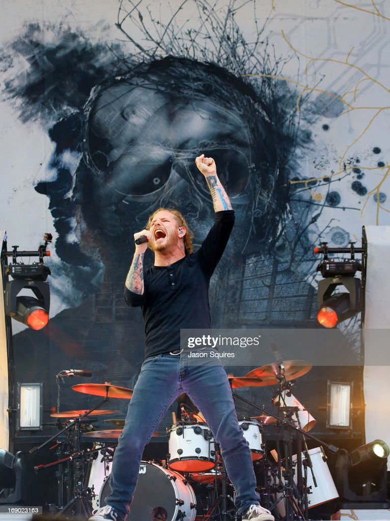 Singer <a gi-track='captionPersonalityLinkClicked' href=/galleries/search?phrase=Corey+Taylor&family=editorial&specificpeople=2350413 ng-click='$event.stopPropagation()'>Corey Taylor</a> of Stone Sour performs during 2013 Rock On The Range at Columbus Crew Stadium on May 18, 2013 in Columbus, Ohio.