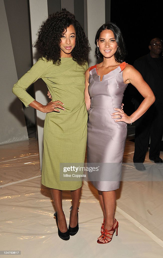 Singer <a gi-track='captionPersonalityLinkClicked' href=/galleries/search?phrase=Corinne+Bailey+Rae&family=editorial&specificpeople=591814 ng-click='$event.stopPropagation()'>Corinne Bailey Rae</a> and actress <a gi-track='captionPersonalityLinkClicked' href=/galleries/search?phrase=Olivia+Munn&family=editorial&specificpeople=598969 ng-click='$event.stopPropagation()'>Olivia Munn</a> attend the Carolina Herrera Spring 2012 fashion show during Mercedes-Benz Fashion Week at The Theater at Lincoln Center on September 12, 2011 in New York City.