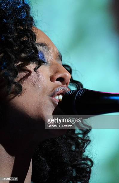 Singer Corinne Bailey Rae performs on stage at the Shoko Club on February 10 2010 in Madrid Spain