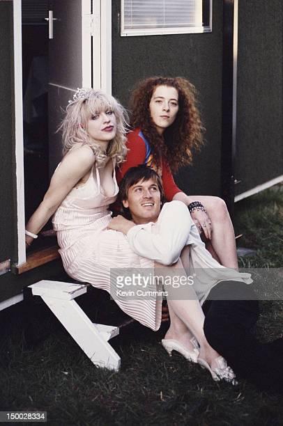 Singer Courtney Love and bassist Melissa Auf der Maur of rock group Hole with singersongwriter Evan Dando of The Lemonheads 1994