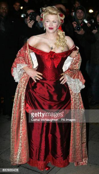 Singer Courtney Love arrives at the pantomimethemed reception for the civil partnership between Matt Lucas and his longterm partner Kevin McGee at...