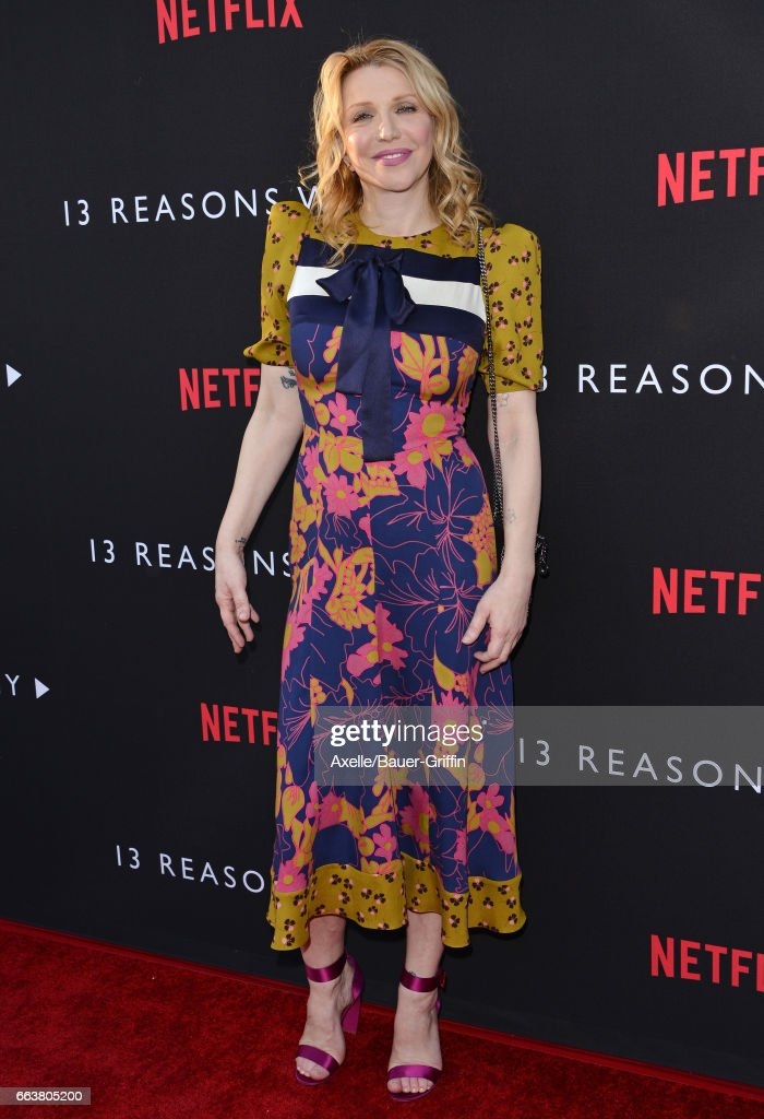 Singer Courtney Love arrives at the Premiere of Netflix's '13 Reasons Why' at Paramount Pictures on March 30, 2017 in Los Angeles, California.