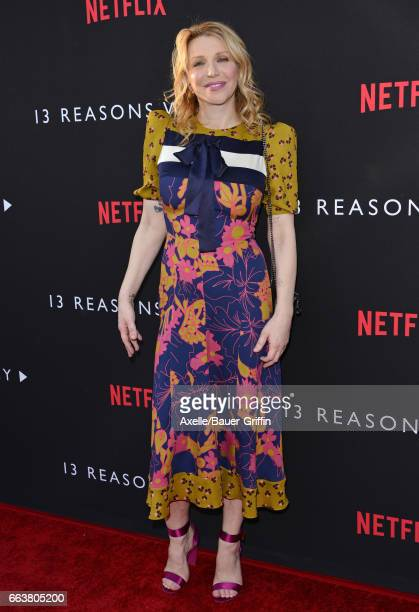 Singer Courtney Love arrives at the Premiere of Netflix's '13 Reasons Why' at Paramount Pictures on March 30 2017 in Los Angeles California