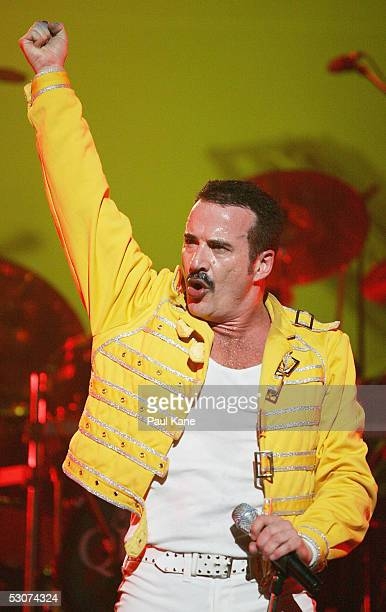 Singer Craig Pesco performs live on stage imitating Freddie Mercury during the Queen 'It's A Kinda Magic' tribute show at Burswood Theatre on June 15...