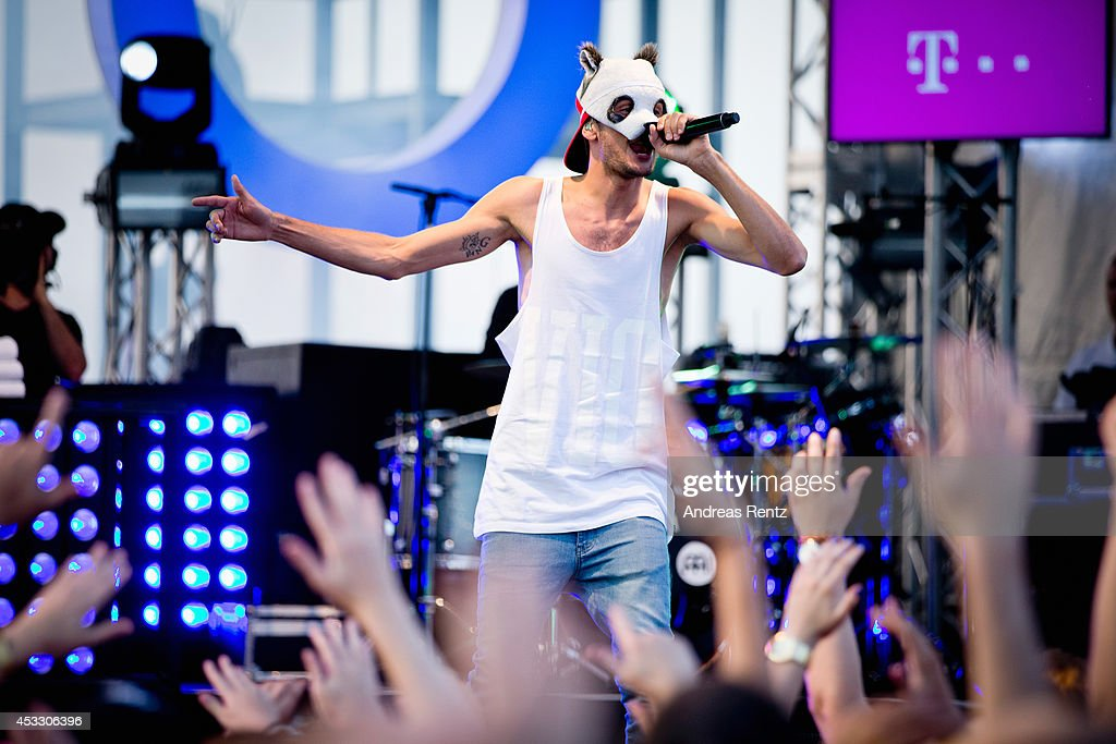 Singer Cro performs on stage during the Telekom Street Gigs on August 7 2014 in Cologne Germany