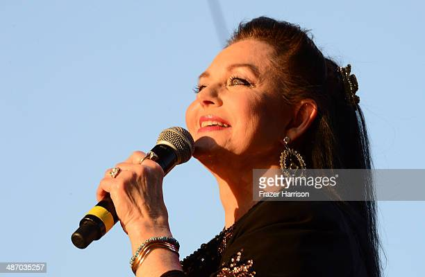 Singer Crystal Gayle performs onstage during day 2 of 2014 Stagecoach California's Country Music Festival at the Empire Polo Club on April 26 2014 in...