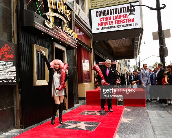 Singer Cyndi Lauper and Actor Harvey Fierstein attend the ceremony to honor Cyndi Lauper and Harvey Fierstein each with a Star on The Hollywood Walk...