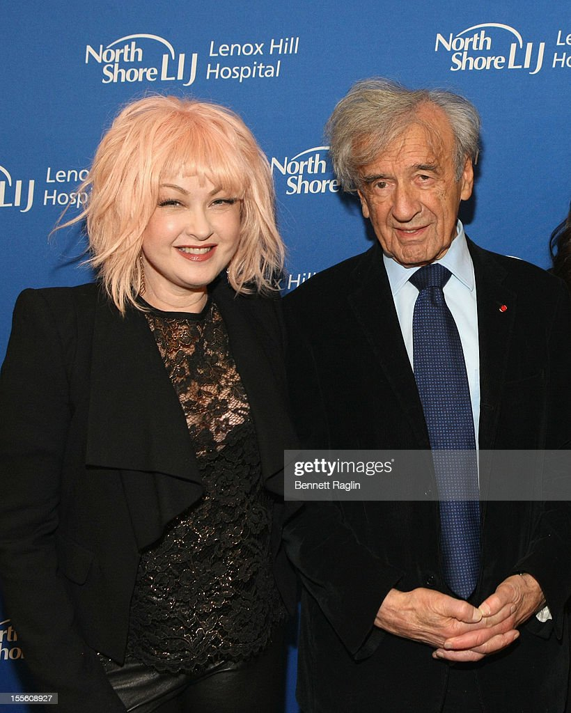 Singer Cyndi Lauper and Medal of Distinction recipient Elie Wiesel, Dan Crown attend Lenox Hill Hospital's autumn ball on November 5, 2012 in New York City.