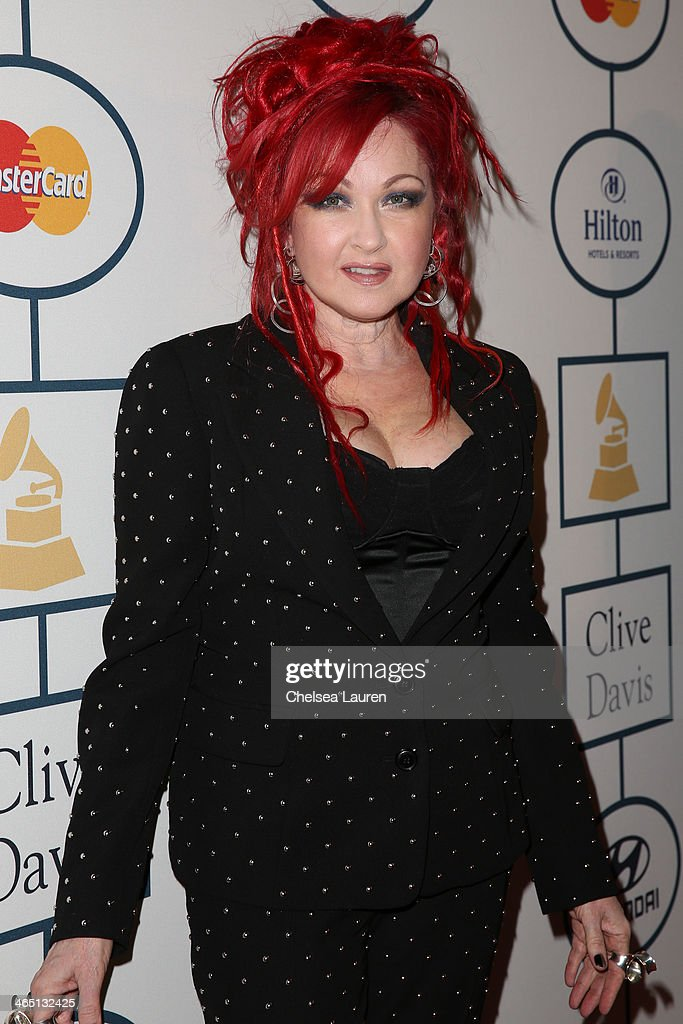 Singer <a gi-track='captionPersonalityLinkClicked' href=/galleries/search?phrase=Cyndi+Lauper&family=editorial&specificpeople=171290 ng-click='$event.stopPropagation()'>Cyndi Lauper</a> arrives at the 2014 HYUNDAI / GRAMMYs Clive Davis Pre-GRAMMY Gala Activation + Equus Fleet Arrivals at The Beverly Hilton Hotel on January 25, 2014 in Beverly Hills, California.