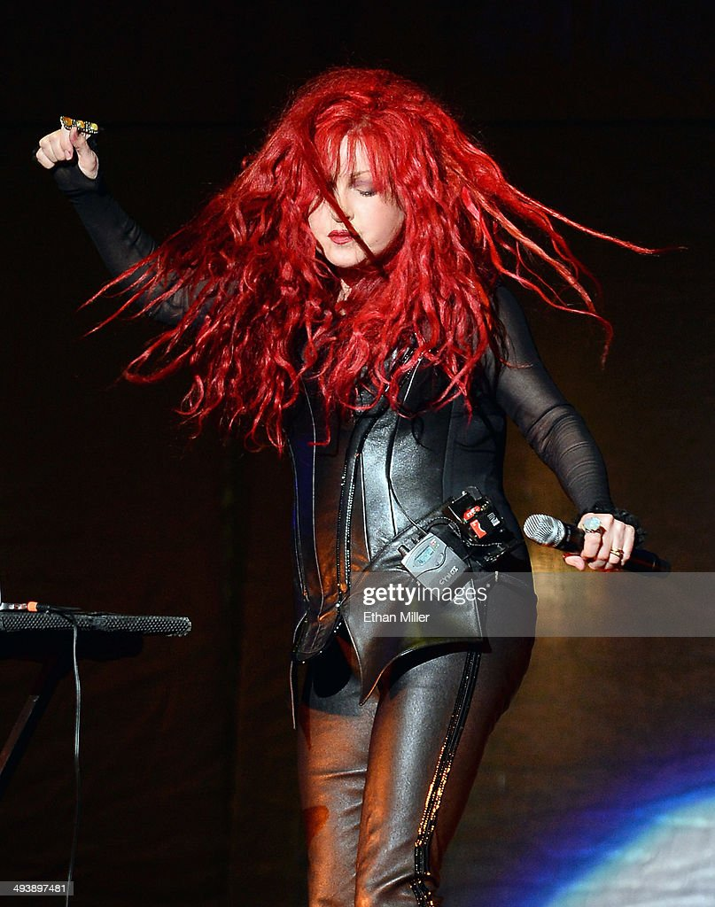 Singer <a gi-track='captionPersonalityLinkClicked' href=/galleries/search?phrase=Cyndi+Lauper&family=editorial&specificpeople=171290 ng-click='$event.stopPropagation()'>Cyndi Lauper</a> performs as she opens for Cher at the MGM Grand Garden Arena on May 25, 2014 in Las Vegas, Nevada.