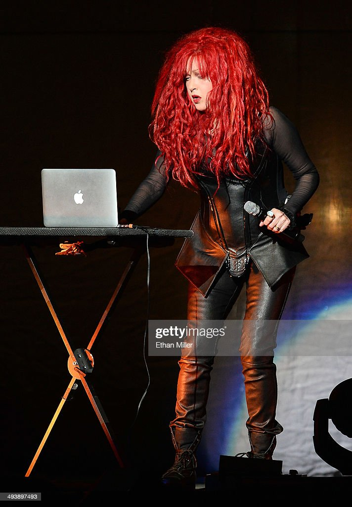 Singer Cyndi Lauper performs as she opens for Cher at the MGM Grand Garden Arena on May 25, 2014 in Las Vegas, Nevada.