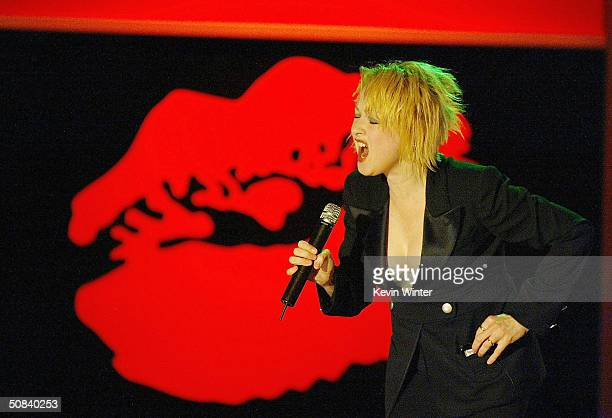 Singer Cyndi Lauper performs at The 11th Annual 'Race to Erase MS' on May 14 2004 at the Century Plaza Hotel in Los Angeles California