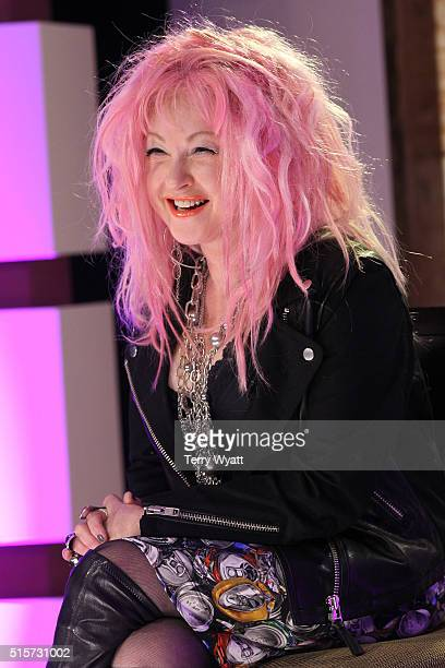 Singer Cyndi Lauper speaks during a press conference for her new country album 'Detour' on March 15 2016 in Hermitage Tennessee