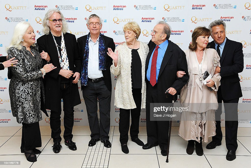 Singer Dame Gwyneth Jones, comedian Billy Connolly, actor Tom Courtenay, actress Dame Maggie Smith, Writer Ronald Harwood, actress Pauline Collins and Director Dustin Hoffman attend the premiere of 'Quartet' during the 56th BFI London Film Festival at Odeon Leicester Square on October 15, 2012 in London, England.