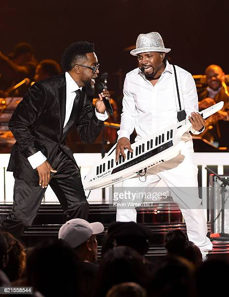 Singer Damion Hall and honoree Teddy Riley perform onstage during the 2016 Soul Train Music Awards on November 6 2016 in Las Vegas Nevada
