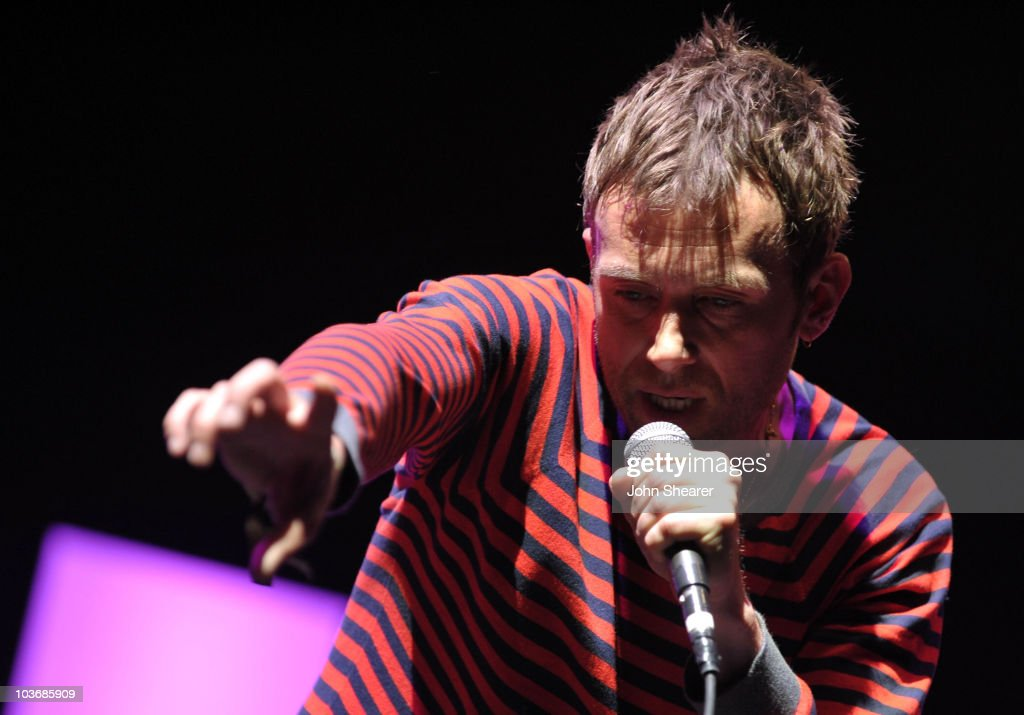 Singer Damon Albarn of Gorillaz performs during Day 3 of the Coachella Valley Music & Arts Festival 2010 at the Empire Polo Field on April 18, 2010 in Indio, California.