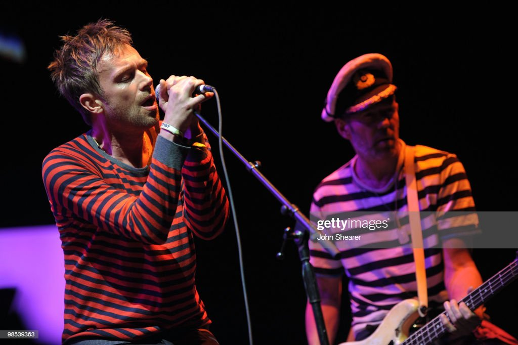 Singer Damon Albarn of The Gorillaz and musician Mike Jones perform during Day 3 of the Coachella Valley Music & Art Festival 2010 held at the Empire Polo Club on April 18, 2010 in Indio, California.