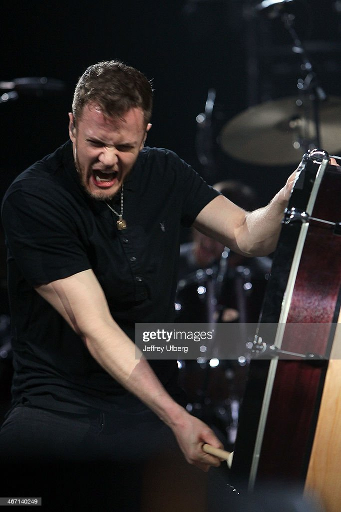 Singer Dan Reynolds of Imagine Dragons performs during the Amnesty International 'Bringing Human Rights Home' Concert at the Barclays Center on February 5, 2014 in the Brooklyn borough of New York City.