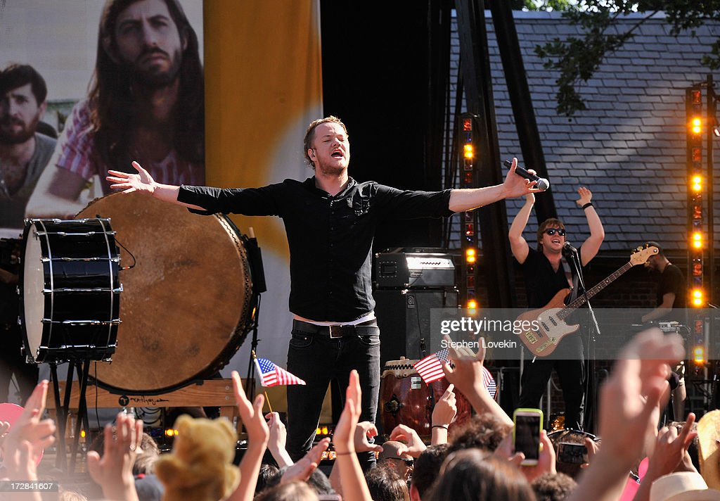 Singer <a gi-track='captionPersonalityLinkClicked' href=/galleries/search?phrase=Dan+Reynolds&family=editorial&specificpeople=8995077 ng-click='$event.stopPropagation()'>Dan Reynolds</a> of Imagine Dragons performs on ABC's 'Good Morning America' at Rumsey Playfield on July 5, 2013 in New York City.