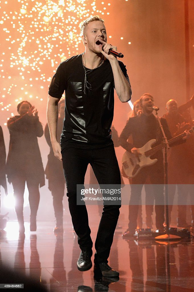 Singer Dan Reynolds of Imagine Dragons performs onstage at the 2014 American Music Awards at Nokia Theatre L.A. Live on November 23, 2014 in Los Angeles, California.