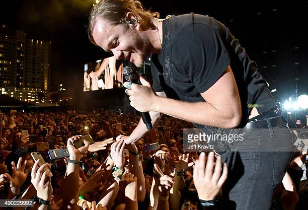 Singer Dan Reynolds of Imagine Dragons performs onstage during day 2 of the 2015 Life is Beautiful festival on September 26 2015 in Las Vegas Nevada
