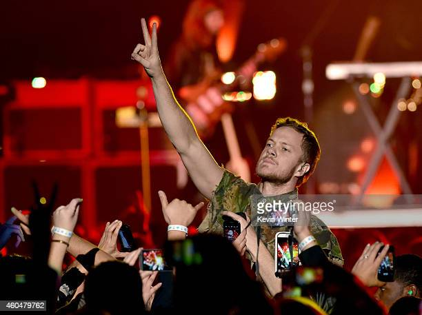 Singer Dan Reynolds of Imagine Dragons performs onstage during day two of the 25th annual KROQ Almost Acoustic Christmas at The Forum on December 13...
