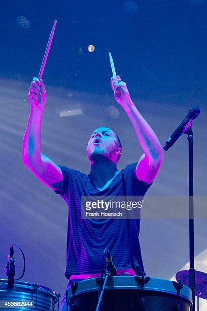 Singer Dan Reynolds of the American band Imagine Dragons performs live during a concert at the Zitadelle Spandau on August 20 2014 in Berlin Germany