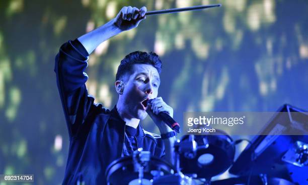 Singer Dan Smith of the band 'Bastille' performs at Zeppelinfeld on June 4 2017 in Nuremberg Germany