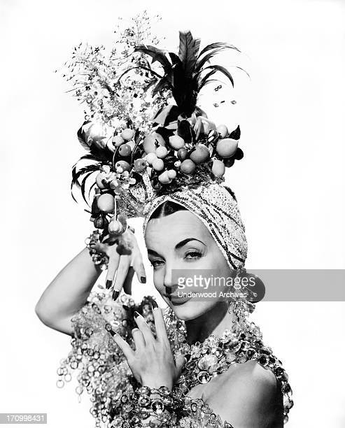Singer dancer actress and movie star Carmen Miranda in one of her famous outfits Hollywood California 1944