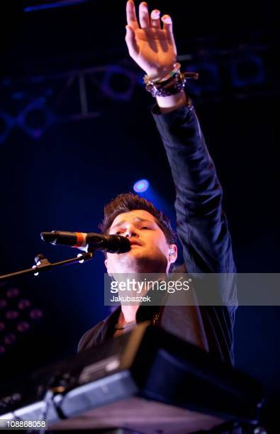 Singer Daniel O'Donoghue of the Irish band The Script peforms live during a concert at the Kesselhaus on February 6 2011 in Berlin Germany