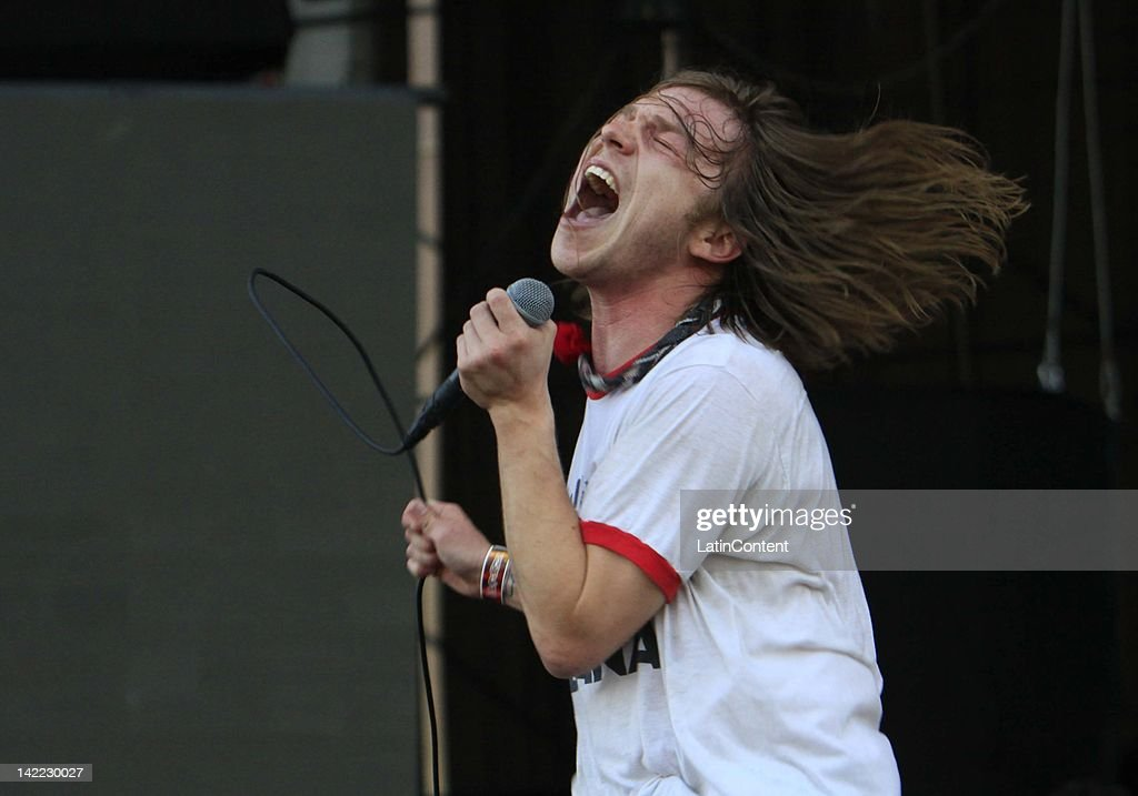 Singer Daniel Tichenor of Cage The Elephant performs live on stage during the 2012 Lollapalooza Music Festival at OHiggins Park on Marchl 31, 2012 in Santiago, Chile.