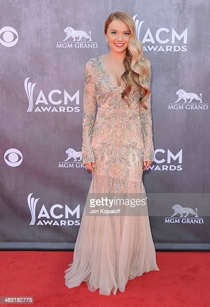 Singer Danielle Bradbery arrives at the 49th Annual Academy Of Country Music Awards at the MGM Grand Hotel and Casino on April 6 2014 in Las Vegas...