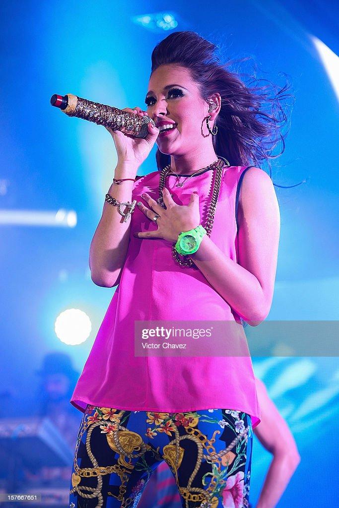 Singer Danna Paola performs onstage at Lunario del Auditorio Nacional on December 4, 2012 in Mexico City, Mexico.
