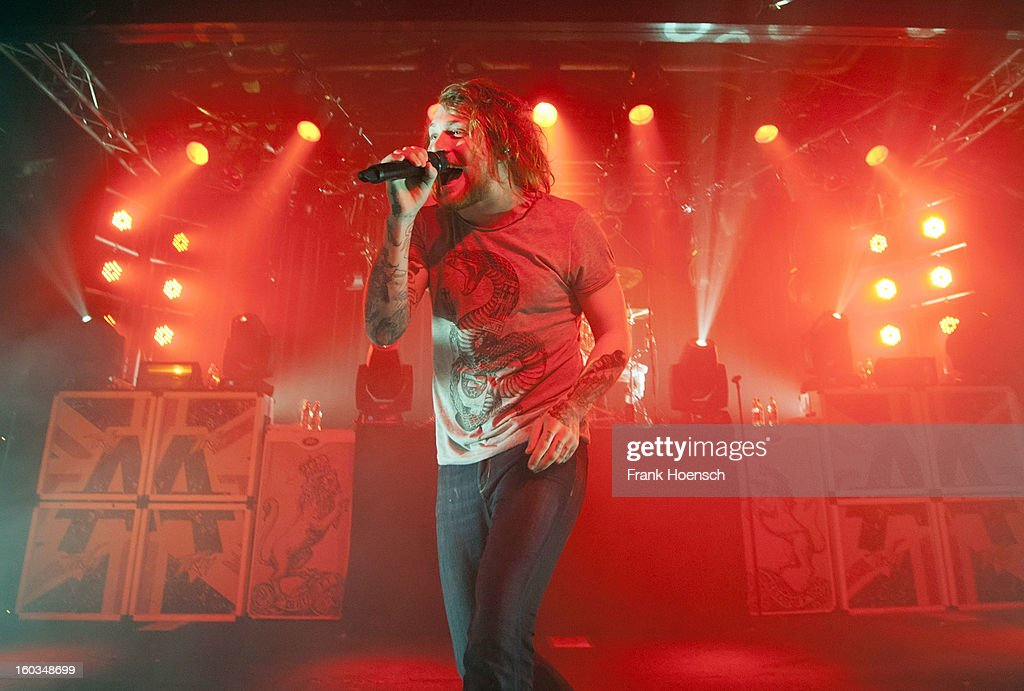 Singer Danny Worsnop of Asking Alexandria performs live during a concert at the Postbahnhof on January 29, 2013 in Berlin, Germany.