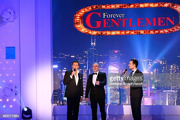 Singer Dany Brillant Actor Antoine Dulery and Singer Damien Sargue perform during the 'Vivement Dimanche' French TV Show Held at Pavillon Gabriel on...
